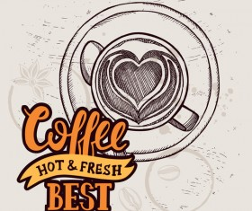 Retro coffee background design vector material 02