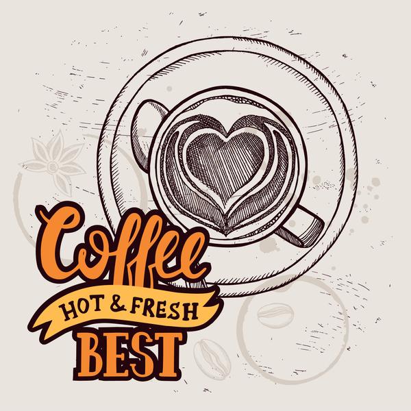 Retro coffee background design vector material 02