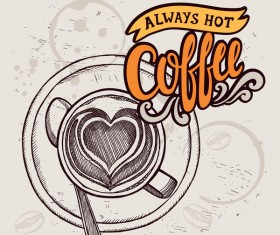 Retro coffee background design vector material 03