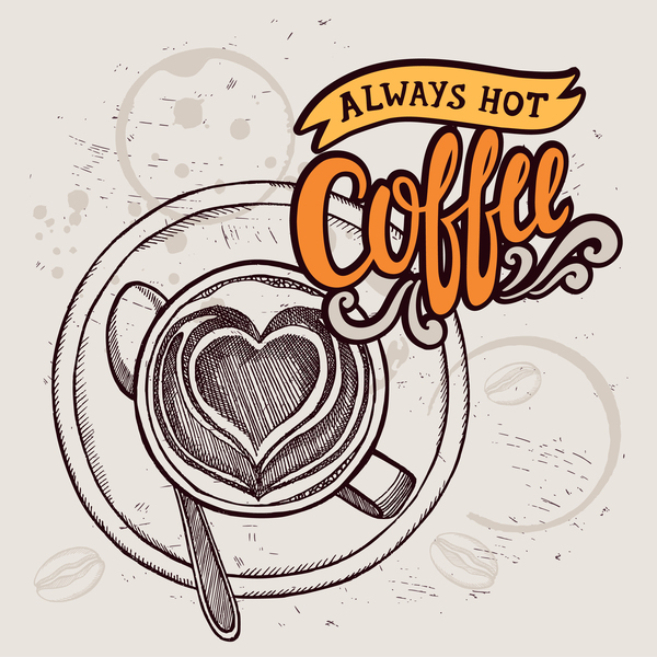 Retro coffee background design vector material 03