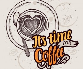 Retro coffee background design vector material 04