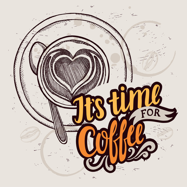 Retro coffee background design vector material 04