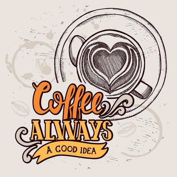 Retro coffee background design vector material 05