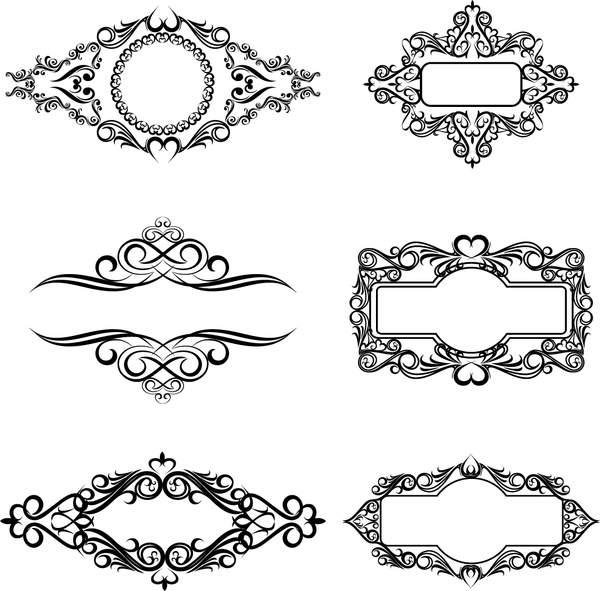 Retro ornaments with decor frames vector