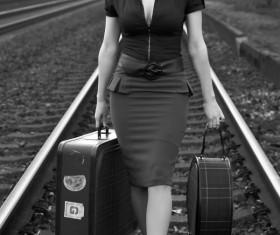 Retro photos walking on the railway woman Stock Photo