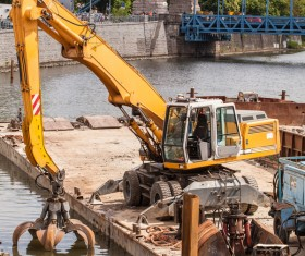 River digging machine Stock Photo