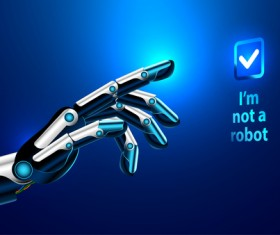 Robot hand with modern background vector 01