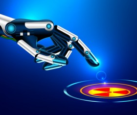 Robot hand with modern background vector 02