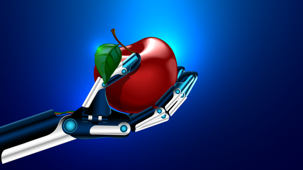 Robot hand with red apple vector