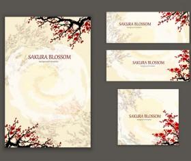 Sakura styles brochure cover with banner vector