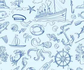 Sea elements seamless pattern vector 01