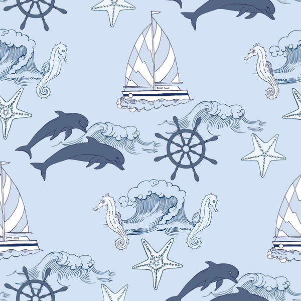 Sea elements seamless pattern vector 02