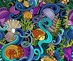 Sea seamless pattern hand drawn vectors 04