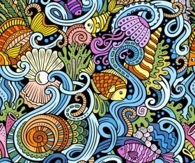 Sea seamless pattern hand drawn vectors 06