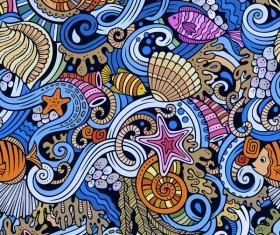 Sea seamless pattern hand drawn vectors 07