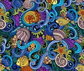 Sea seamless pattern hand drawn vectors 08