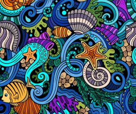 Sea seamless pattern hand drawn vectors 09
