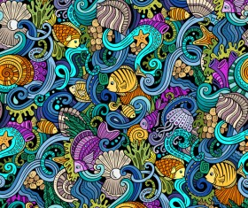 Sea seamless pattern hand drawn vectors 10