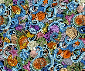Sea seamless pattern hand drawn vectors 11
