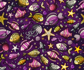 Sea seamless pattern hand drawn vectors 12