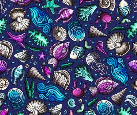 Sea seamless pattern hand drawn vectors 13