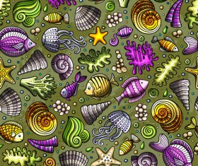 Sea seamless pattern hand drawn vectors 14