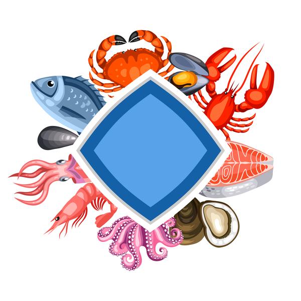Seafood frame design vector 01