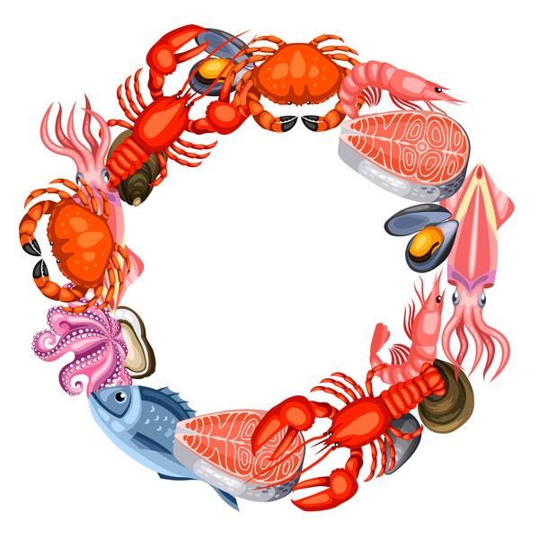 Seafood frame design vector 02