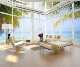 Seaside villa view room furnishings Stock Photo