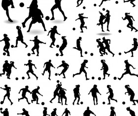 Set of football play silhouette vector 01