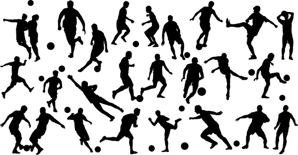 set of football play silhouette vector 02 free download  freedesignfile