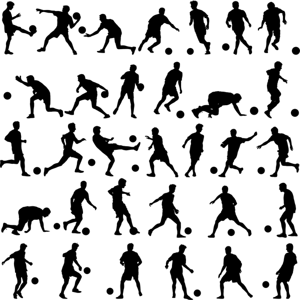 Set of football play silhouette vector 03