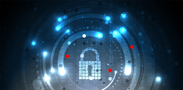 Set of technology security with data background vector 11
