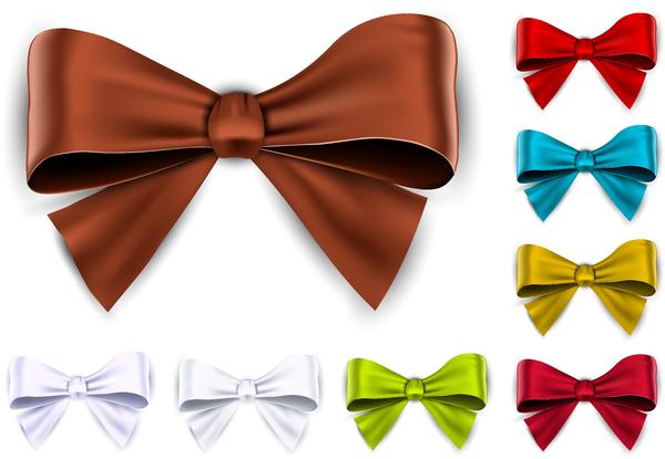 Shing colored bows vector set