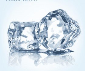 Shining transparent Ice cubes vector material 02