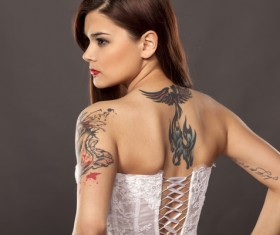 Shoulder and back tattoo girl HD picture