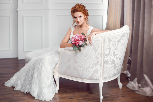 Sitting on the couch with beautiful bride Stock Photo 01