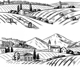 Sketch rural vector material