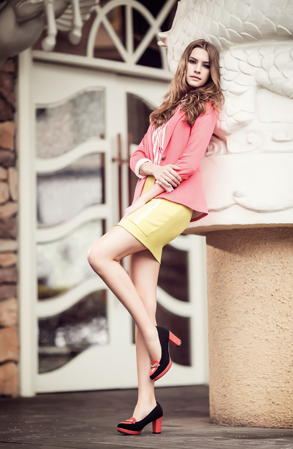 Slender legs female model Stock Photo
