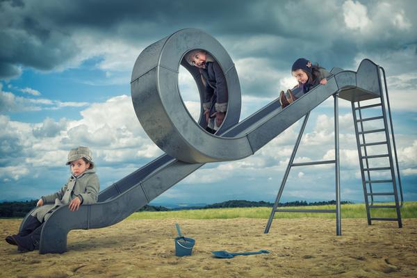 Slide the little children play Stock Photo