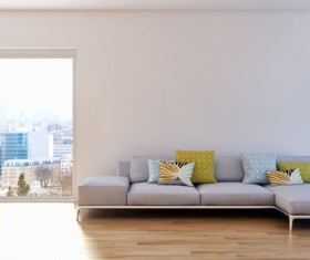 Sofa and floor lamp in the corner of the living room HD picture