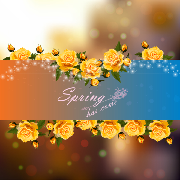 Spring postcars with beautiful flowers vector 01