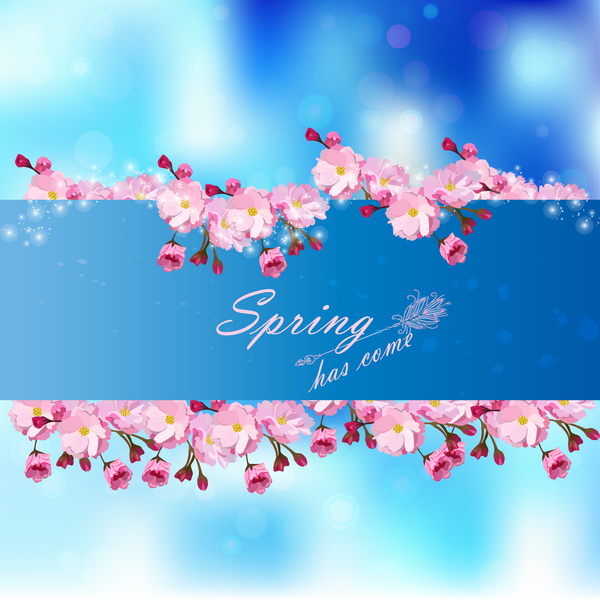 Spring postcars with beautiful flowers vector 02
