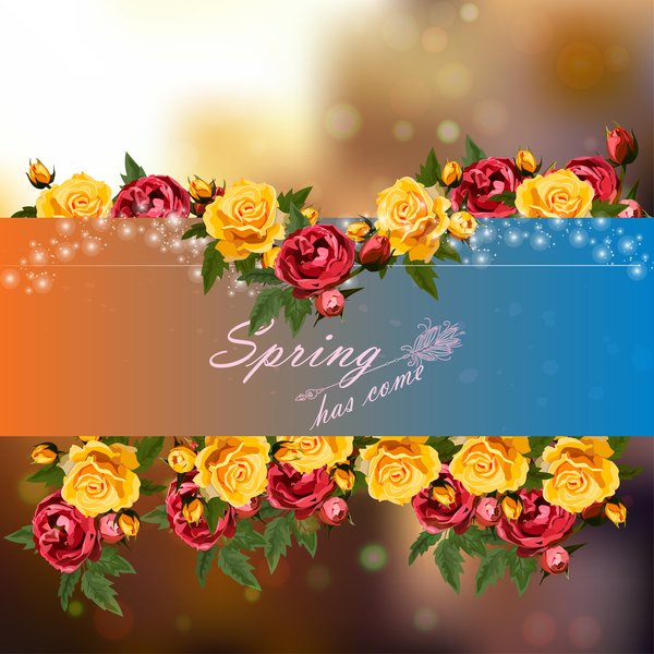 Spring postcars with beautiful flowers vector 03