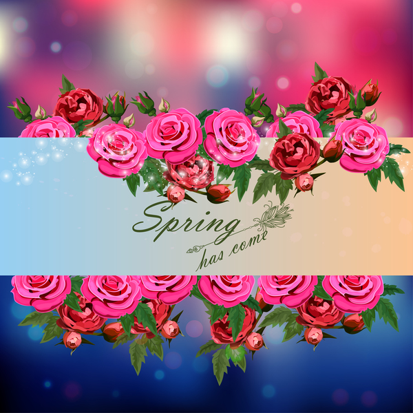 Spring postcars with beautiful flowers vector 05