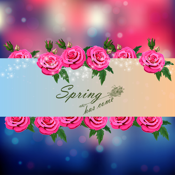 Spring postcars with beautiful flowers vector 07