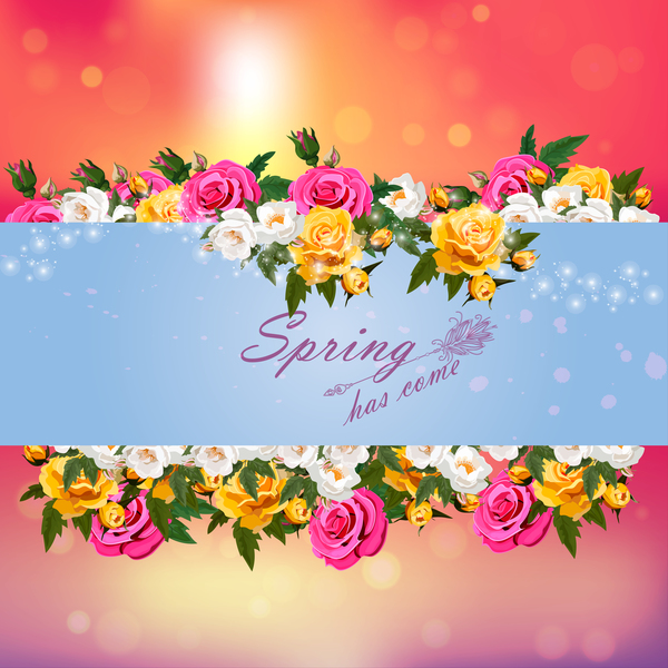 Spring postcars with beautiful flowers vector 08