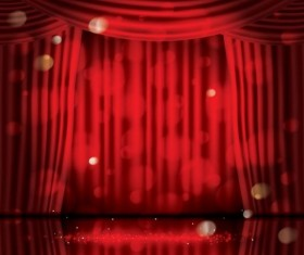 Stage and red curtain vector background 01