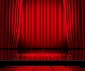 Stage and red curtain vector background 02