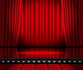 Stage and red curtain vector background 03